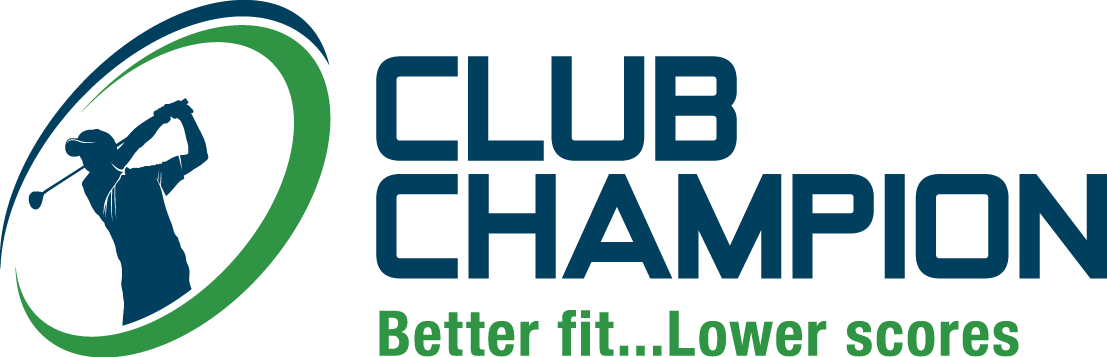 navy blue and green Club Champion logo and tagline