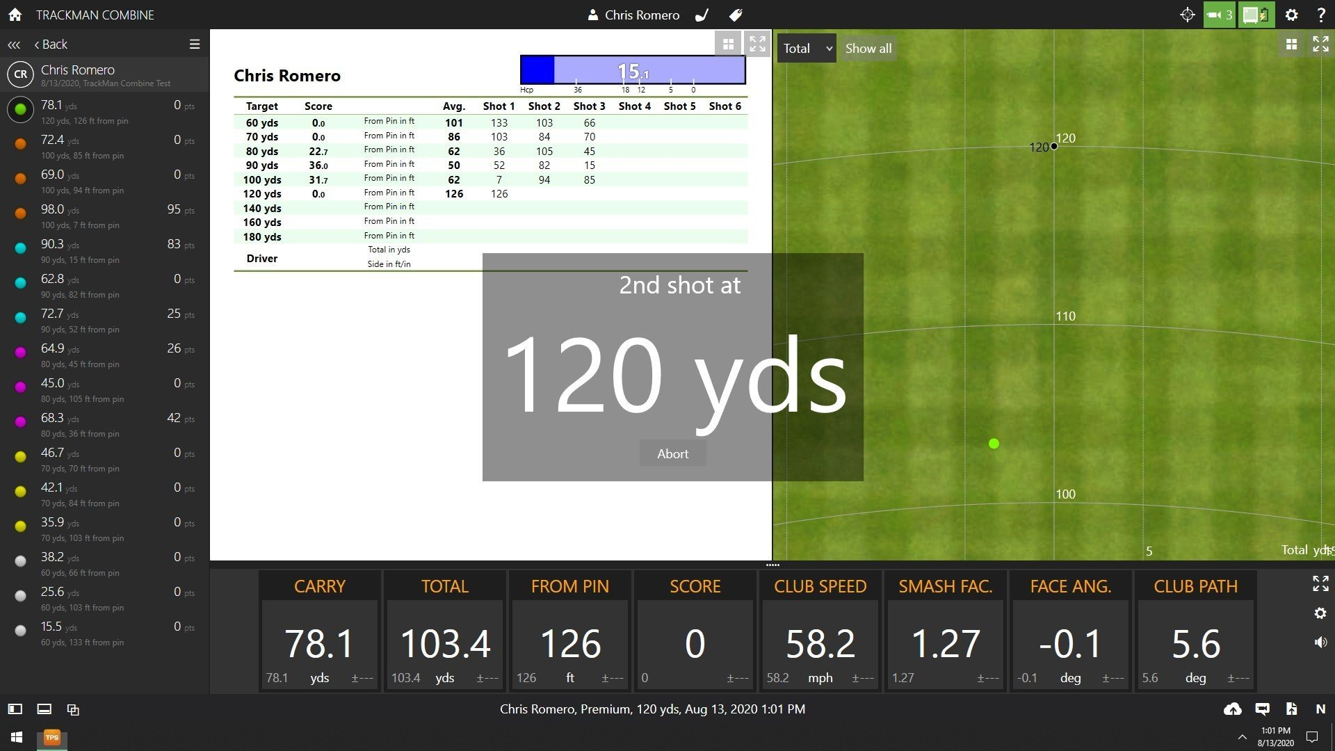 TrackMan combine screen, 2nd shot at 120 yds