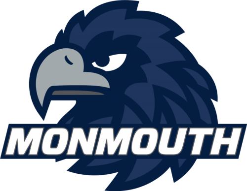Monmouth University mascot, navy blue hawk, monmouth in white letters over hawk