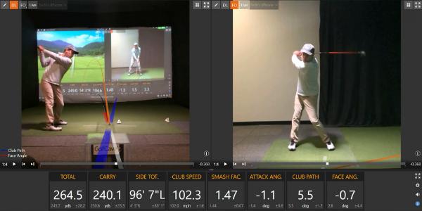split screen, dual camera, man swinging golf club on TrackMan simulator, golf stats on bottom of screen