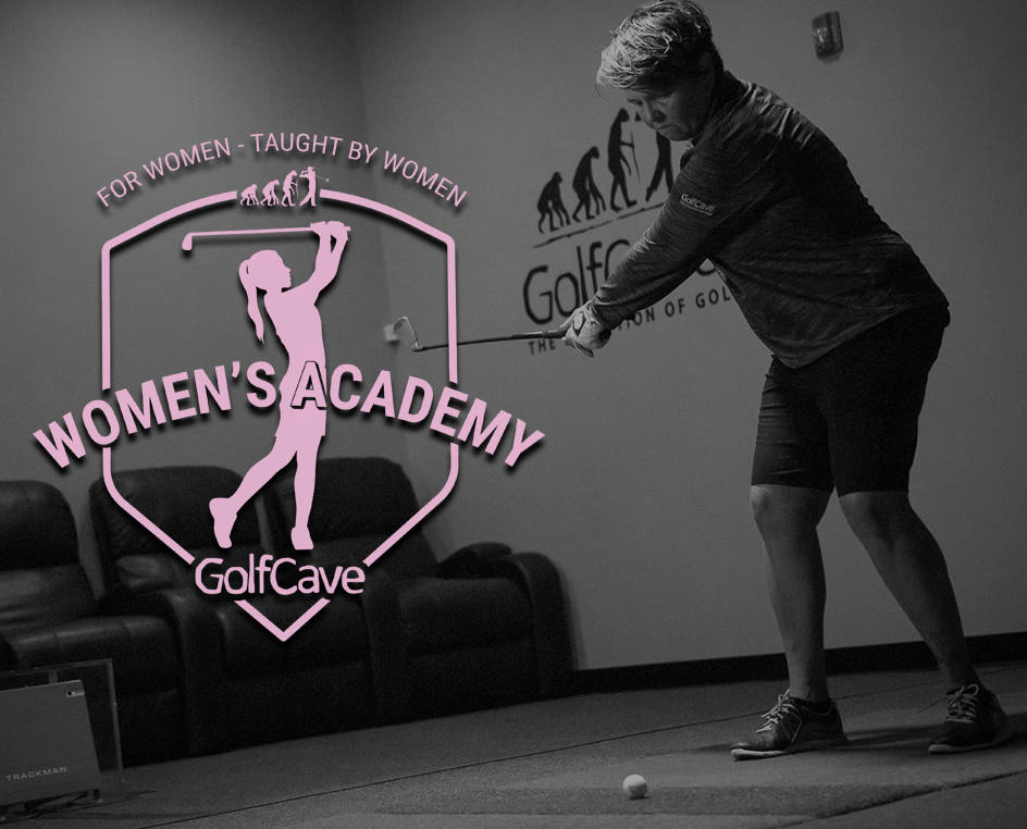 GolfCave - woman wearing shorts and 1/4 zip, swinging golf club, theater chairs in background, TrackMan golf simulator
