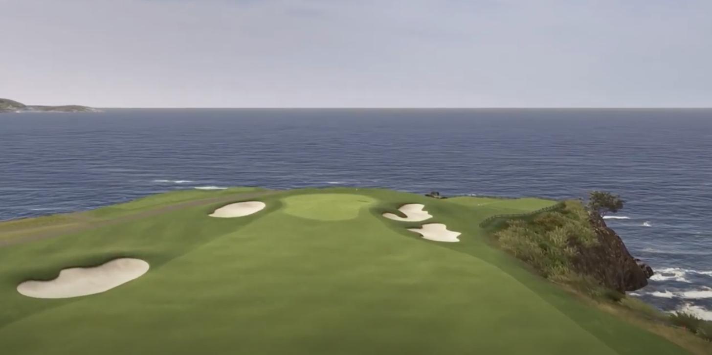7th hole of Pebble Beach golf course on TrackMan simulator